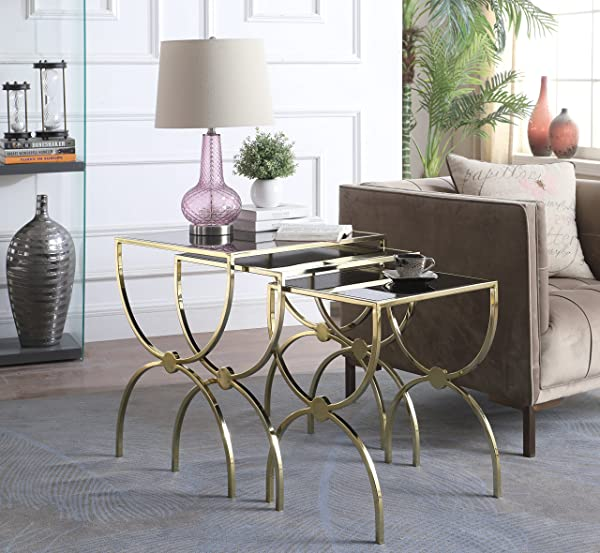 Iconic Home Palma Nightstand Side Table 3 Piece Set Gold Finished Hourglass Frame Black Glass Top Modern Contemporary Gold