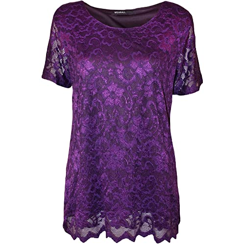 21f8b8244dc699 WearAll Plus Size Women s Lace Short Sleeve Top