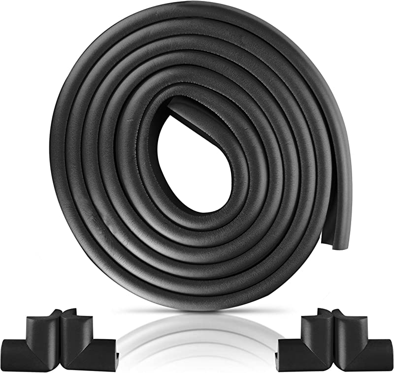 Furniture Edge And Corner Guards 16 2ft Protective Foam Cushion 15ft Bumper 4 Adhesive Childsafe Corners Baby Child Proofing Foam Set And Safe For Table Fireplace Countertop Black