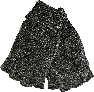 Mens Fingerless Ragg Wool Gloves With Inner Fleece Palm Lining
