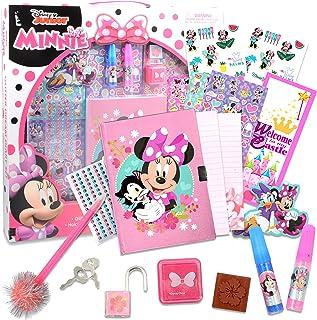 Minnie Mouse Glitter Diary Set in Box Minnie Mouse Craft Set ~ 15+ Pc Minnie Diary Set with Notebook, Keys, Lock, Stickers...
