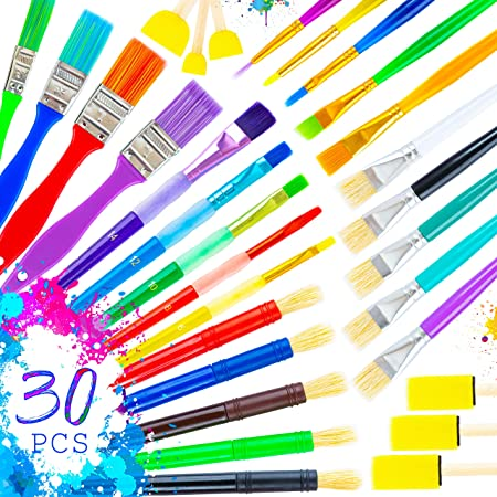 30 Paint Brushes for Kids, Colorful Art Set of Kids Paint Brushes, Kids Art Supplies - Acrylic Paint Brush for Kids, Watercolor Brushes for Kids, Kids Paintbrushes, Paint Brushes for Kids Ages 4-8