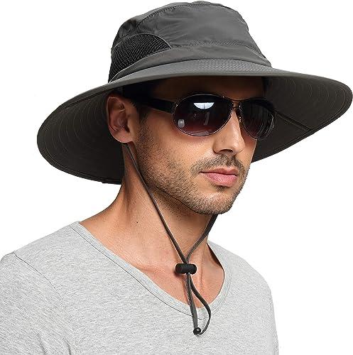 EINSKEY Sun Hat for Men/Women, Sun Protection Wide Brim Bucket Hat Waterproof Breathable Packable Boonie Hat for Fishing