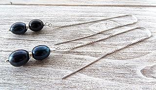 Orecchini con perle blu d'acqua dolce e argento 925, pendenti lunghi a catenella, gioielli minimalisti, bijoux con pietre ...