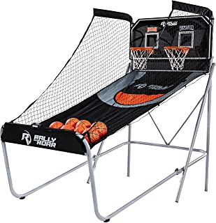 Shootout Basketball Arcade Game, Classic or Premium, Dual Shot with LED Lights and Scorer – 8 Option Interactive Indoor Basketball Game with Double Hoops, 7 Basketballs, Pump-Rec Room, Dorm, Basement