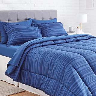 AmazonBasics 7-Piece Light-Weight Microfiber Bed-In-A-Bag Comforter Bedding Set –..