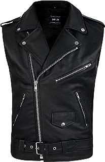 DEFY Men's Genuine Leather Motorcycle Biker Concealed Carry Vintage Vest American Sizes (XL)