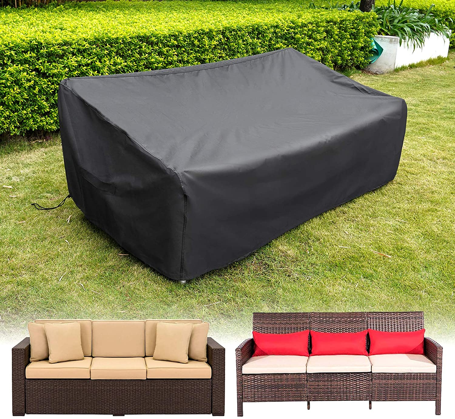 HIRALIY 82.6 Inch Outdoor Sofa Cover, Waterproof Patio Outdoor Couch Cover, 420D Heavy Duty Oxford Fabric Patio Loveseat Bench Covers, Durable & Sun-Protecitve, 82.6