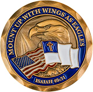 Mount Up with Wings As Eagles, Antique Gold Plated Challenge Coin, Wings as Eagles, Isaiah 40:31 Gift