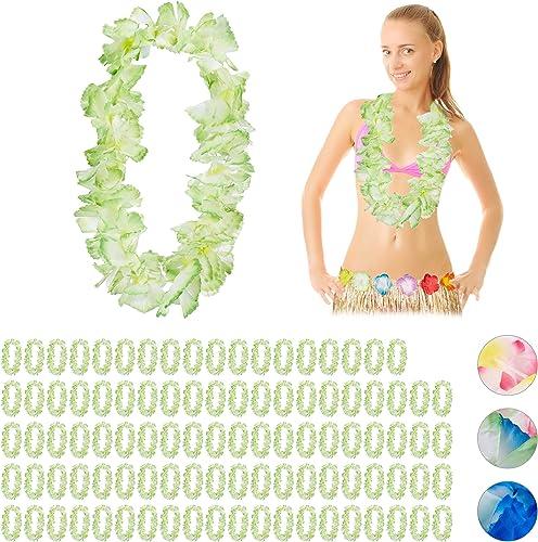 Relaxdays 100 x Hawaiikette WAIKIKI, Alohaketten für Festival, JGA, Karneval, Kostümschmuck, Karibik-Feeling, Blaumenketten, Grün