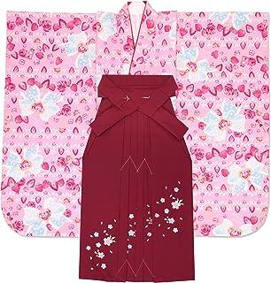 卒園式 女の子 袴 セット総柄 子供着物 刺繍袴 5点セット 合繊「ピンク リボンにいちご」PTK234msr