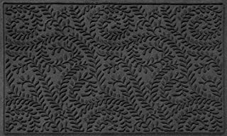 Bungalow Flooring Waterhog Indoor/Outdoor Doormat, 3' x 5', Made in USA, Skid Resistant, Easy to Clean, Catches Water and Debris, Boxwood Collection, Charcoal