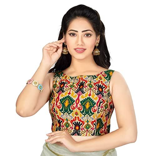 8df628e4e5 TrendyFashionMall Readymade Sleeveless Printed Cotton Saree Blouse Multi  Color Collection