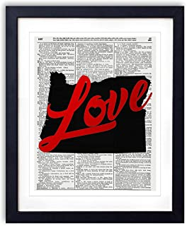 Oregon Love Red Foil Stamped Art Print - Vintage Dictionary Reproduction Art Print