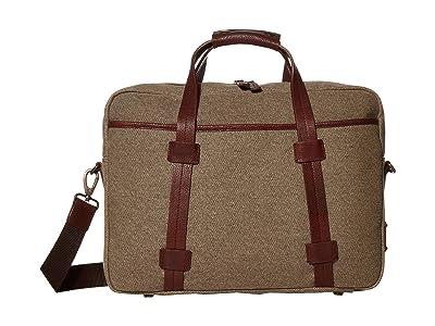 Bosca RFID Canvas/Washed Top Zip Laptop Bag (Khaki/Brown) Handbags