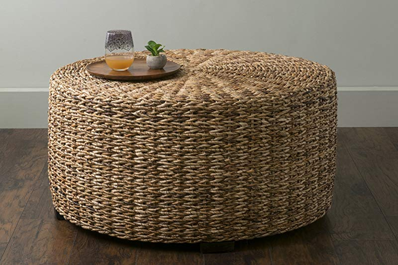 East At Main Langdon Brown Round Abaca Coffee Table 35 5x35 5x18 5