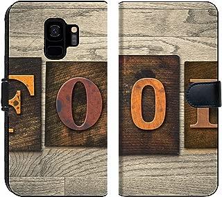 Luxlady Samsung Galaxy S9 Flip Fabric Wallet Case Image ID: 35347450 The Word Food Written in Wooden Letterpress Type