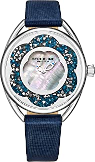 Original Womens Watches with Mother of Pearl Dial with Crystal Flower Ring - Analog Dress Watch 995 Lily Wrist Watches for Women - Ladies Watch Collection