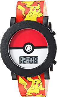 Pokemon Boys' Quartz Watch with Plastic Strap, red, 18 (Model: POK4049)