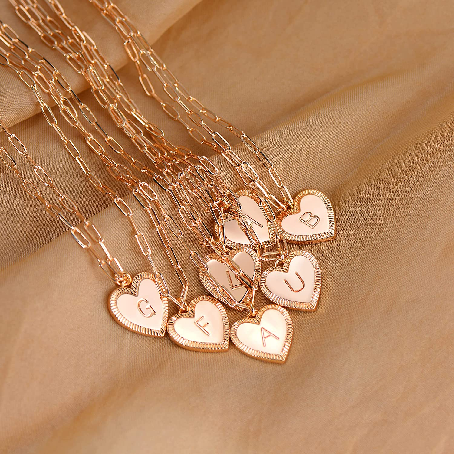 Layered Heart Initial Gold Necklaces for Women Girls 14K Gold Choker Layering Paperclip Chain Necklace Personalized Letter Heart Pendant Dainty Jewelry
