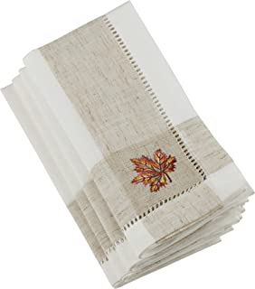 """SARO LIFESTYLE Hommage Brodé Collection Embroidered Leaf Hemstitch Napkins (Set of 4), 20"""", Ivory"""