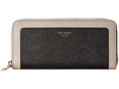Kate Spade New York Margaux Slim Continental Wallet (Black/Warm Taupe) Checkbook Wallet