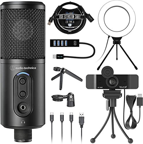 """high quality Audio-Technica ATR2500x-USB Cardioid Condenser Microphone (ATR Series) for Windows & Mac Bundle with Blucoil 1080p USB Webcam, 6"""" Dimmable Selfie Ring sale Light, USB-A outlet sale Mini Hub, and 3' USB Extension Cable online"""