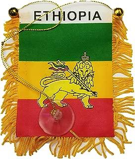 BUNFIREs Ethipian LION OF JUDAH Small 4 X 6 Inch Mini Flag Banner Rearview Mirror Ethiopia Lion of judah flag Fringed Window Hanging