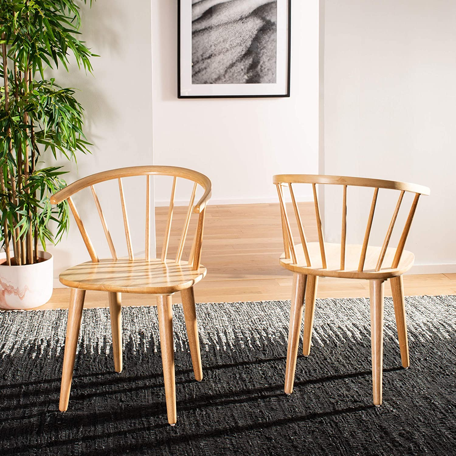 Safavieh Home Collection Blanchard Natural Curved Spindle Side Chair Set of 2