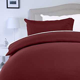 Amazon Basics - Juego de fundas de edredón y de almohada de microfibra, 200 x 200 cm + 2 fundas 50 x 80 cm - Burdeos