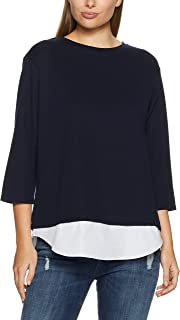 French Connection Women's Spliced Tee, Nocturnal/Summer WHI