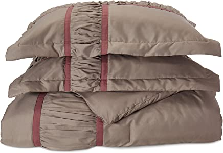 Chic Home Tuscan 7-Piece Comforter Set with Four Shams and Two Decorative Pillows,  Queen Size,  Plum