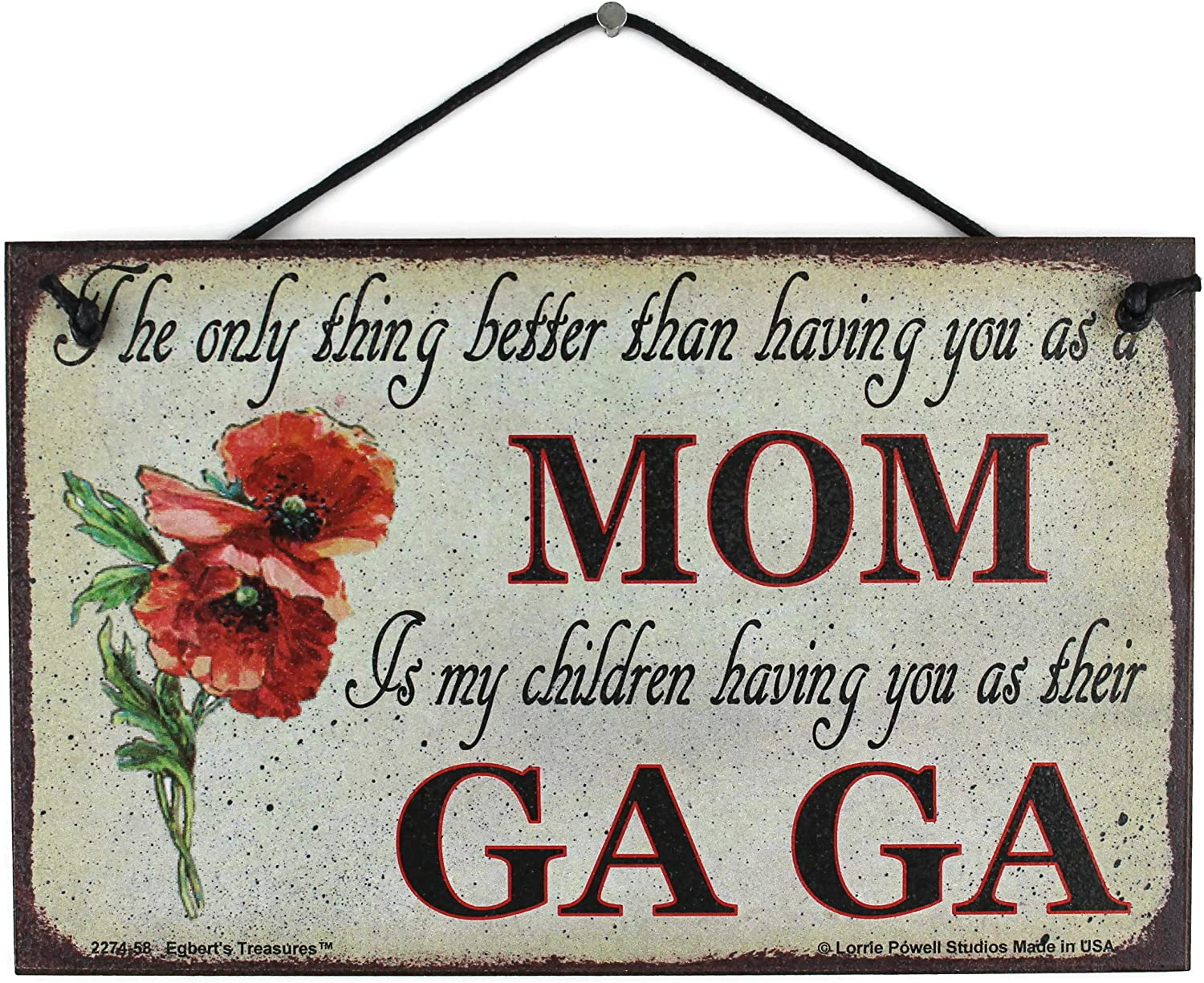 5x8 Vintage Style Sign with Poppy Saying only