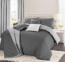 Juego de cama geométrico, edredones Christian, mezcla de algodón, Black & White (grey), suelto
