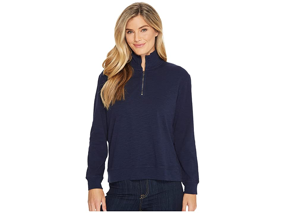Mod-o-doc Heather Slub Rib 1/2 Zip Funnel Pullover (True Navy) Women