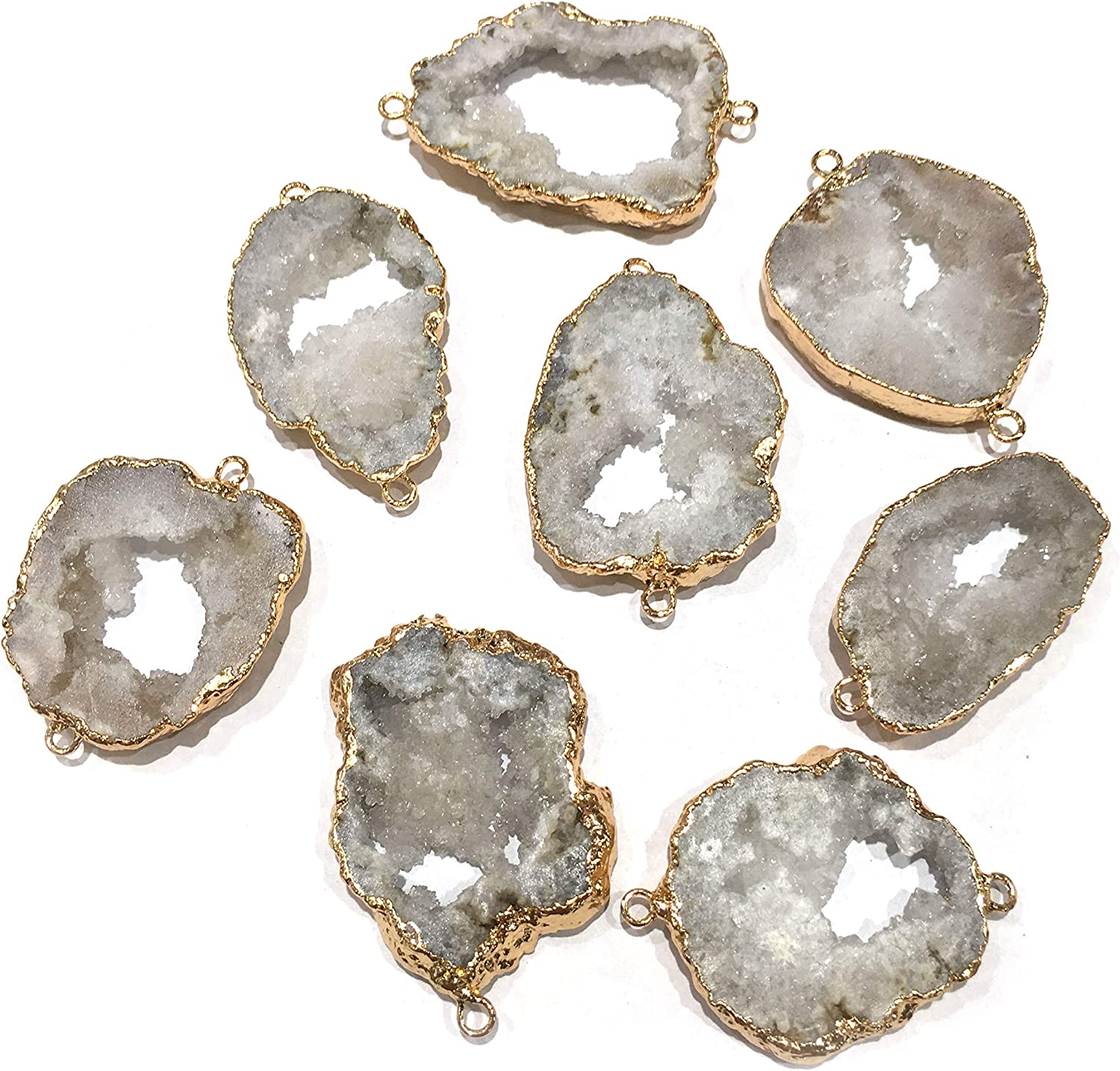 Finding Jewelry DIY Geode Earring Natural Pink Geode Druzy Agate Geode Connectors Geode Druzy 24k Gold Plated Earrings Pairs Connector
