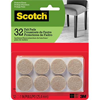 Scotch Brand Felt Pads By 3M, Great for protecting wood floors, Round, 1 in. Diameter, Beige, 32/Pack