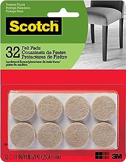 Scotch Brand SP802-NA Scotch Felt Pads Round, 1 in. Diameter, Beige, 32/Pack