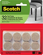 Scotch Brand Felt Pads, Value Pack, Protectors, Round, 1 in. Diameter, Beige, 32/Pack