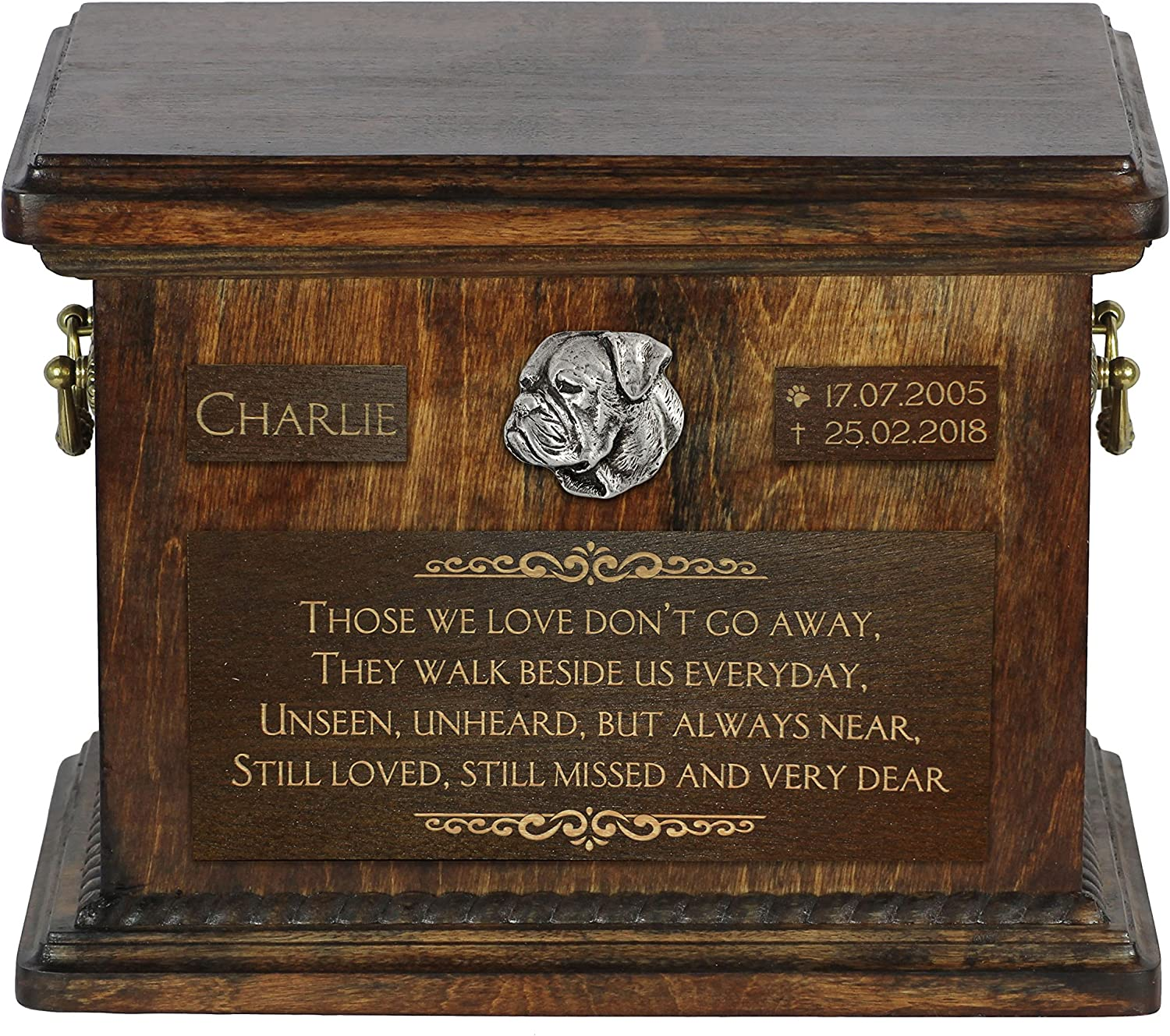 ArtDog Ltd. American Bulldog, urn for dog's ashes with relief and sentence with your dog name and date