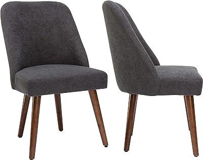 By Demeyere « Gaby » Lot de 2 chaises de Salle à Manger Moderne en Tissu Gris et Pieds métal Couleur Noyer 52x59x87 cm