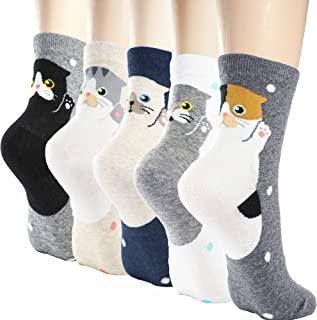 Womens Cute Design Casual Cotton Crew Socks | One Size Fits All | Gifts for Women
