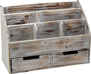 Executive Office Solutions Vintage Rustic Wooden Office Desk Organizer & Mail Rack for Desktop, Tabletop, or Counter - Distressed Torched Wood-Store Supplies, Desk Accessories, Mail – Barnwood (WO3)