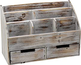 Executive Office Solutions Vintage Rustic Wooden Office Desk Organizer & Mail Rack..