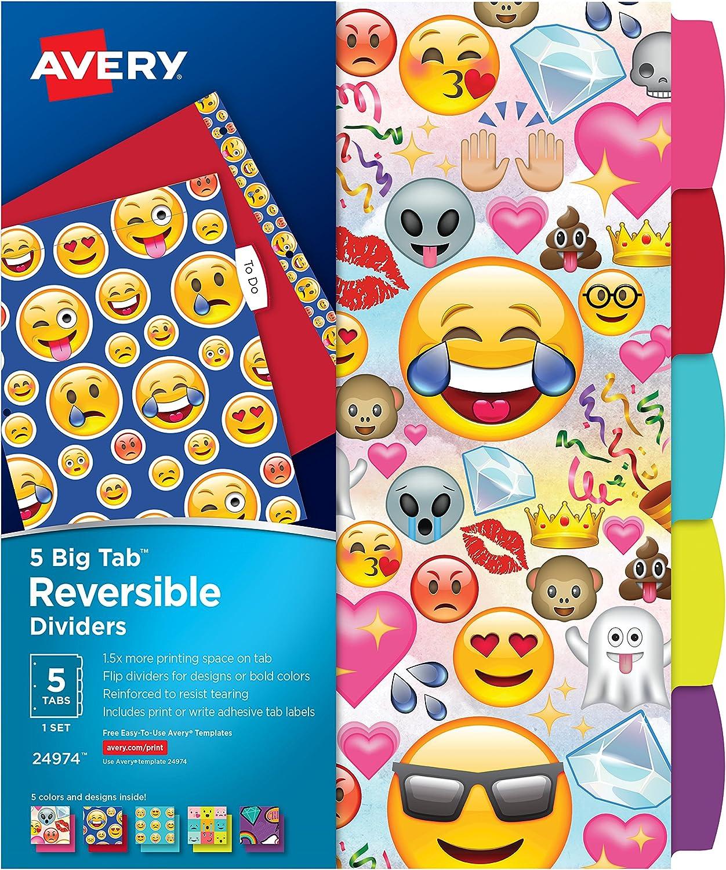 Avery Big Tab Reversible Fashion 24 Dividers Selling and selling 5-Tab Set Washington Mall Emojis