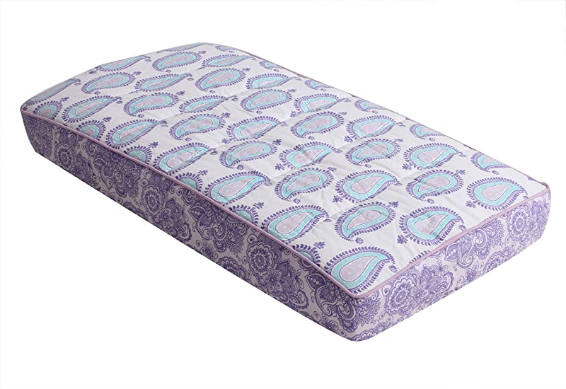 Bacati Isabella Girls Paisley Quilted Diaper Changing Pad Cover Lilac Purple Aqua