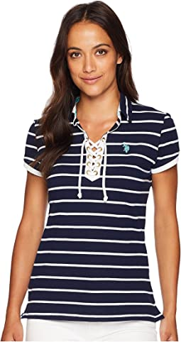 Lace-Up Striped Pique Polo Shirt