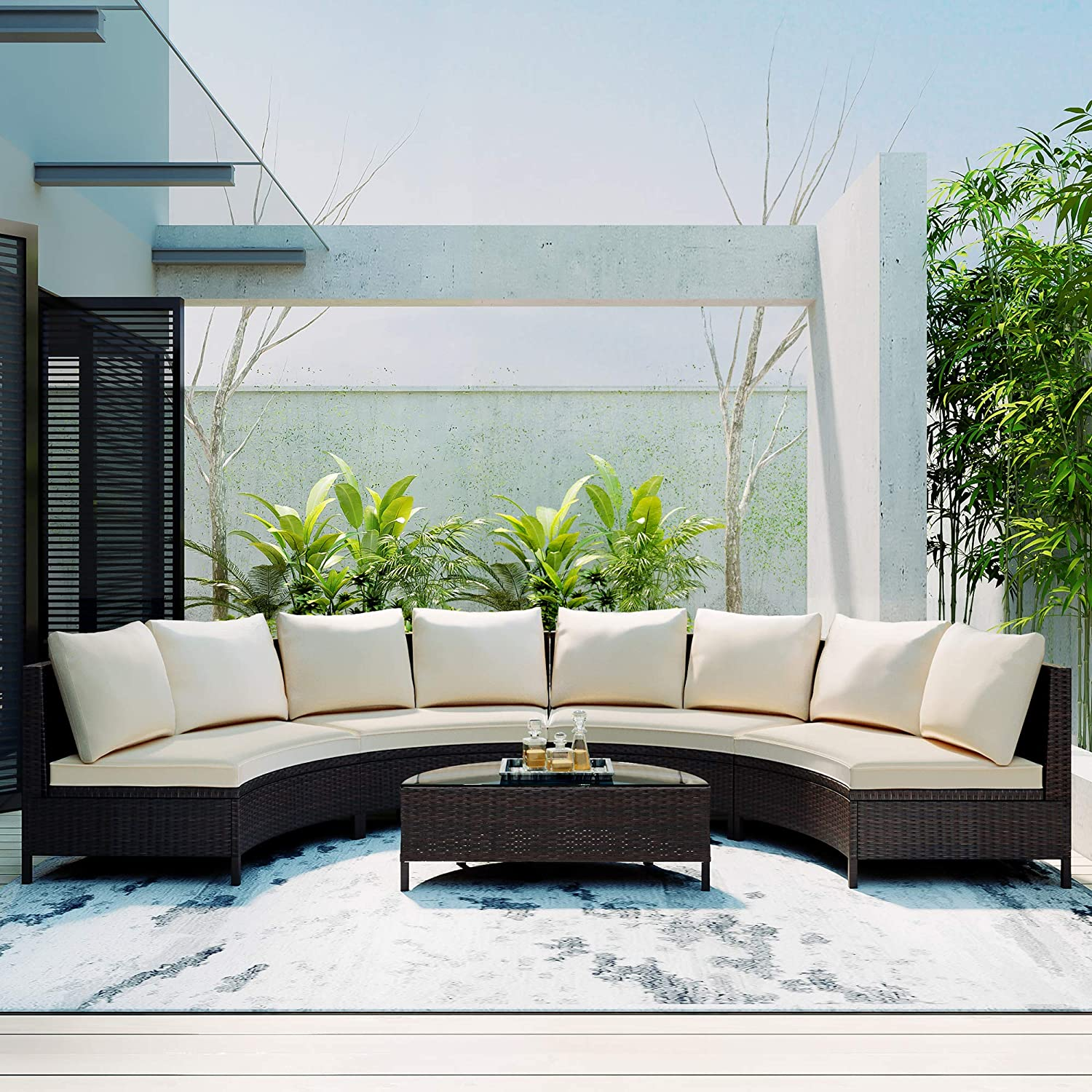 Inventory cleanup selling sale 5 Pieces Outdoor Patio Sectional Max 89% OFF Set Furniture Half-Moon Sofa Se