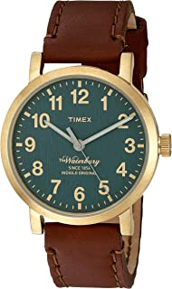 Timex Men's 'The Waterbury' Quartz Stainless Steel and Leather Dress Watch, Color: Brown (Model: TW2P58900ZA)