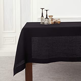 Solino Home Hemstitch Linen Tablecloth - 60 x 90 Inch, 100% Pure Linen Black Tablecloth for Indoor and Outdoor use